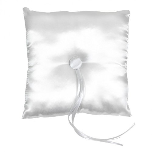 Koyal Wholesale Satin Ring Bearer Pillow, 7-Inch, White (Simple Flowers Set)