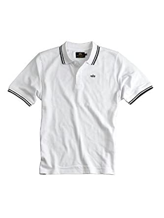 Alpha Industries Twin Tiras Camisa Polo Blanco: Amazon.es: Ropa y ...