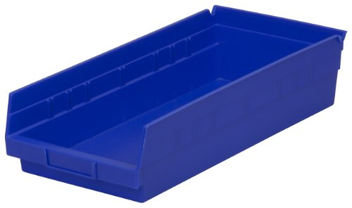 (Akro-Mils 30158 18-Inch by 8-Inch by 4-Inch Plastic Nesting Shelf Bin Box, Blue, Case of)