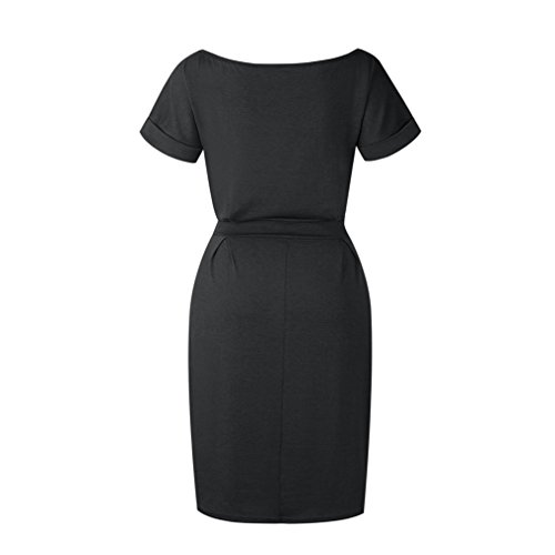 Kasoni Des Femmes De Tenue Décontractée Vêtements À Manches Courtes Pour Travailler Robe De Bureau Élégant Avec Ceinture # 1 Noir