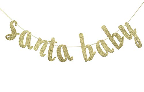 Santa Baby Banner Sign Gold Glitter Decorations for Christmas Winter Baby Shower Gender Reveal Decor Kid's Birthday Neutral Theme Photo Booth Props (Baby Reveal Christmas)