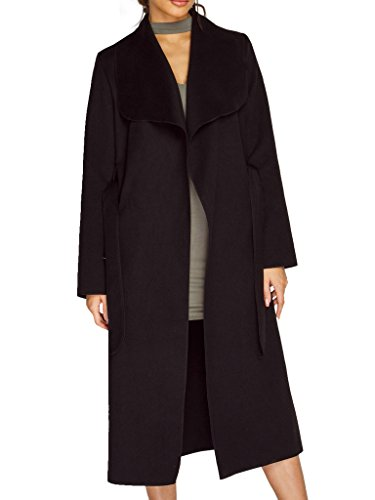 Simplee Apparel Women's Oversized Waterfall Belted Kim Kardashian Jacket Trench Coat Black, 0/2