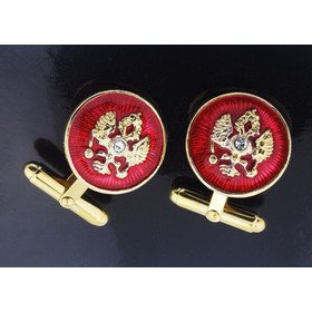 Jewelry-Chains Cufflinks Double Headed Eagle Sterling Silver Gold Gild & Enameled