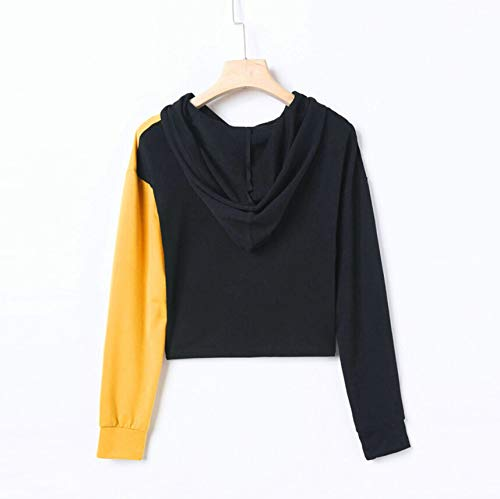 Rambling Women Teen Girls Cropped Hoodies, 2018 Fashion Long Sleeve Patchwork Crop Top Sweatshirt by Rambling (Image #2)