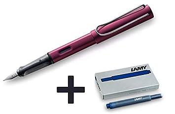Pluma Estilográfica LAMY AL-Star (punta media) + 5 cartuchos de tinta azul + funda para bolígrafos - morado oscuro: Amazon.es: Oficina y papelería