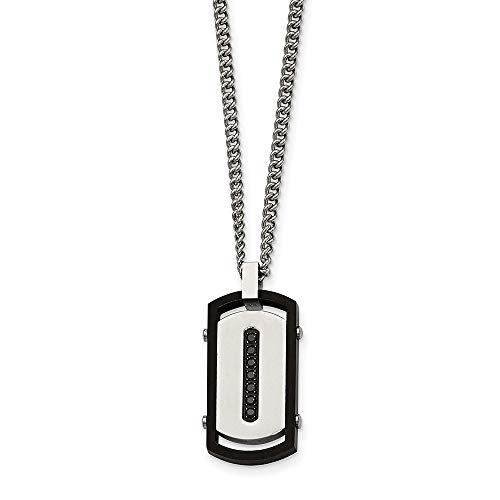 Chisel Stainless Steel Brushed Black IP-Plated Rim Black CZ Dog Tag Pendant and 22