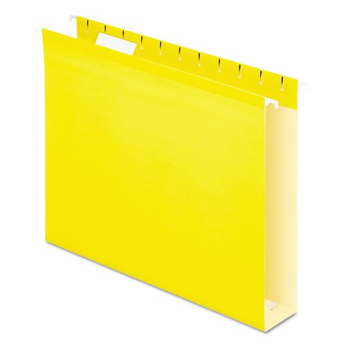 Pendaflex Reinforced 2 inch Extra Capacity Hanging Folders, 1/5 Tab, Letter, Yellow, 25/Box