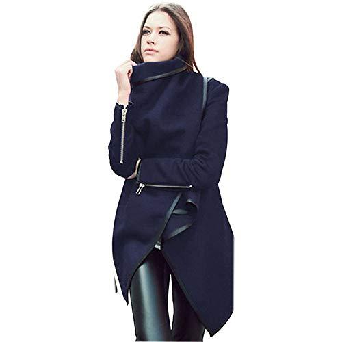 Faionny Women Warm Parka Solid Windbreaker Irregular Coat Wool Jacket Slim Trench Coat Cardigan Winter Outwear ()