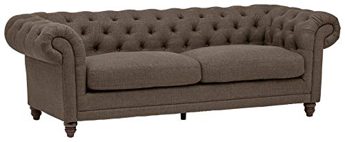 "Amazon Brand – Stone & Beam Bradbury Chesterfield Tufted Sofa Couch, 92.9""W, Warm Grey - An updated twist on a classic Chesterfield, this handsome tufted sofa is as comfortable as it is eye-catching. Its sturdy design and high performance upholstery will bring enduring style and durability to your home. 92.9''W x 39""D x 30.3""H Solid and engineered hardwoods; polyester/nylon fabric - sofas-couches, living-room-furniture, living-room - 31mFK7D1ZvL -"