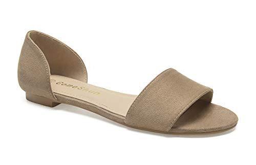 ComeShun Womens Shoes Comfort Open Toe Slip On D'Orsay Flats Beige Size 8