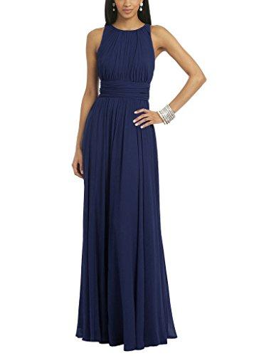 Ssyiz Women's Elegant Pleated Chiffon Floor Length Evening Party Dress Navy Blue 10