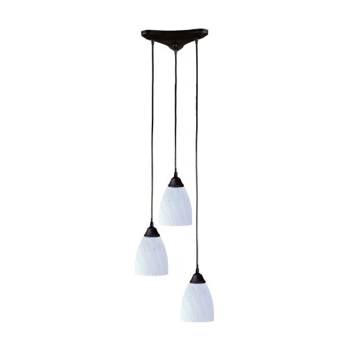3 Light Pendant In Dark Rust And Simply White -