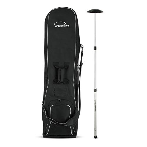 Intech Golf Travel Cover with Wheels Bundle with Crossbar Golf Travel Bag Support ()