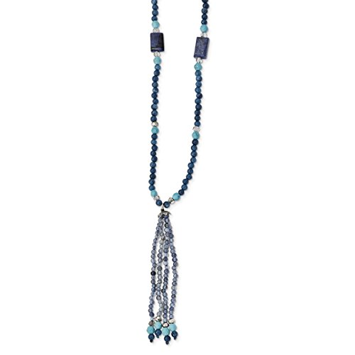 Cut Iolite Pendant (ICE CARATS 925 Sterling Silver Crystal/iolite/lapis/bl. Quartz/recon.bl. Magnesite Drop Chain Necklace Natural Stone Fine Jewelry Gift Valentine Day Set For Women Heart)