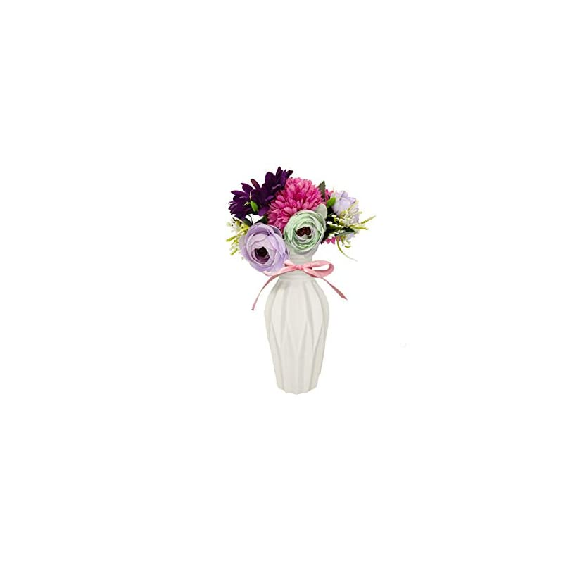 silk flower arrangements uikkot artificial bouquets with ceramic small vase fake silk various flowers decoration for party home gift table wedding office (purple)