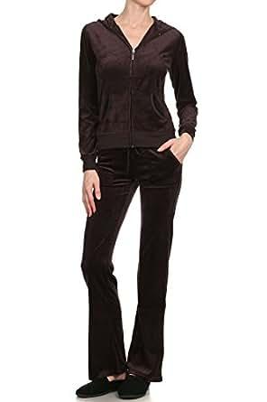 G2 Chic Women's 2 Piece Set Basic & Applique Hooded Velour Sweat Track Suit(ACT-SET,BRNA2-S)