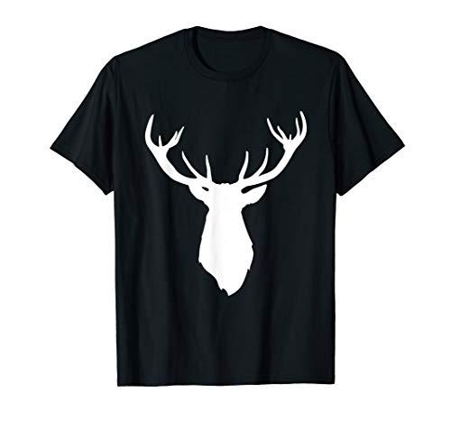 Buck Stag Deer Head Antlers White Silhouette T Shirt (Antlers Deer Silhouette)