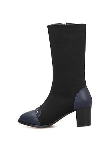 De Casual Cn39 Rojo Vestido Puntiagudos Xzz Eu39 Semicuero Azul Mujer Tacón Moda us8 La Red Nailon Botas negro Robusto Zapatos Uk6 A pCCPwq15