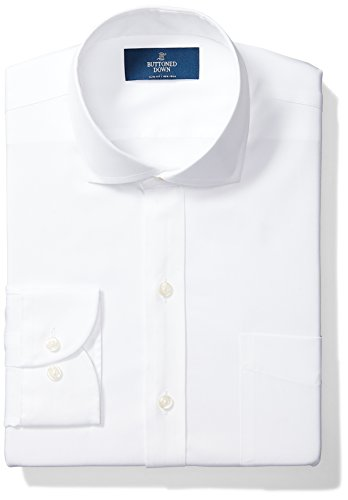 Buttoned Down Men's Slim Fit Cutaway Collar Solid Non-Iron Dress Shirt (Pocket), White, 15