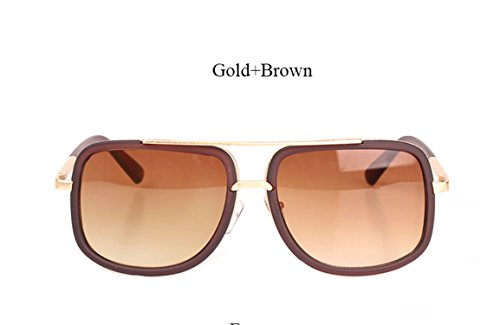 Square Sunglasses Men Luxury Couple Lady Celebrity Flat Top Hot Women Brad Pitt Sun Glasses YD07 Brown Brown