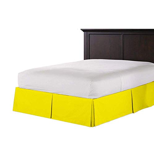 Sona Bedding Solutions Ultra Soft Genuine Premium Organic Cotton 500 Thread Count Pleated Bed Skirt 22'' inc Pocketwith Two Free Pillowcases Solid Olympic Queen Yellow