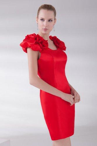 Rot Schlank BRIDE Neuer kurzes Entwurf Kleid GEORGE Puffaermel Satin OT4qw