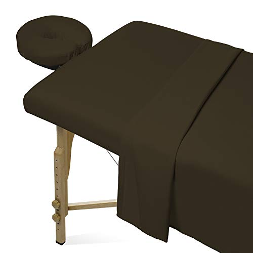Saloniture 3-Piece Microfiber Massage Table Sheet Set - Premium Facial Bed Cover - Includes Flat and Fitted Sheets with Face Cradle Cover - Chocolate Brown