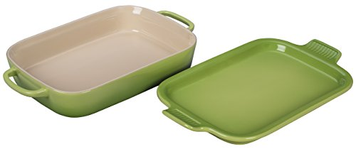 Le Creuset Stoneware Rectangular Dish with Platter Lid, 14 3/4'' x 9'' x 2 1/2'', Palm by Le Creuset