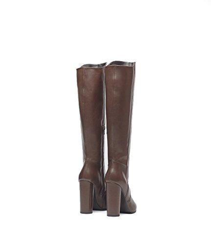 PoiLei Lola - chaussure femme / classiques bottes en cuir à talon haut epais - avec bout pointu / elegantes et sophistiquées marron