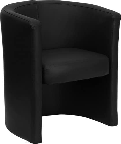 Flash Furniture Black Leather Barrel-Shaped Guest / Reception Chair