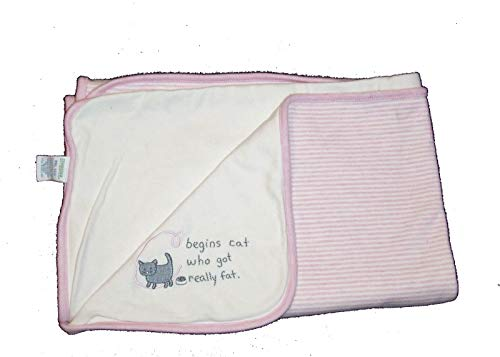 (Gym White and Pink Vintage Gymboree Alphabet Soup Pink C is for Cat Baby Blanket Reversible Stripe )