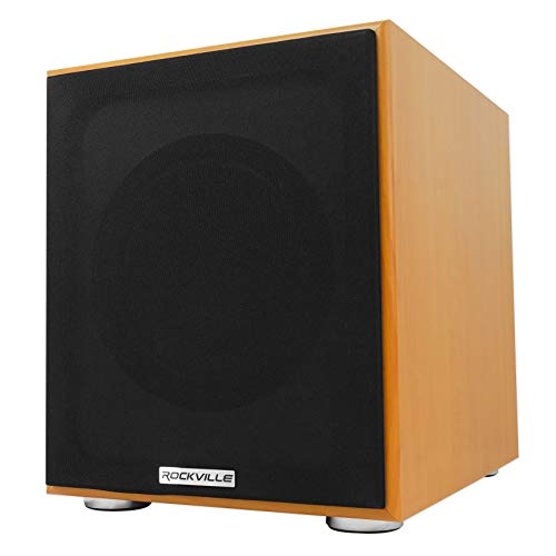 Rockville Rock Shaker 8″ Classic Wood 400w Powered Home Theater Subwoofer Sub