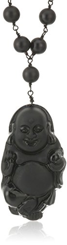 Carved Black Onyx Pendant (Black-Tone Matte Finish Black Onyx  with Black Obsidian Carved Buddha Pendant Link Beads Necklace, 32