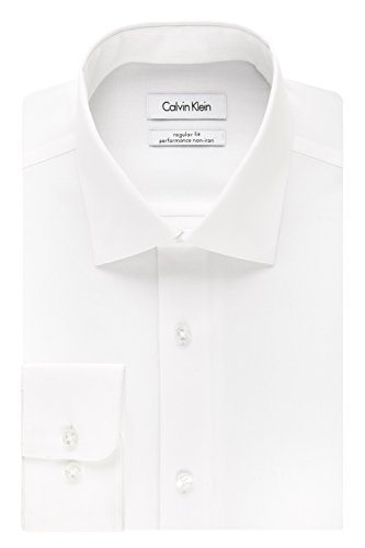 Calvin Klein Men's Regular Fit Non Iron Herringbone Spread Collar Dress Shirt, White, 17