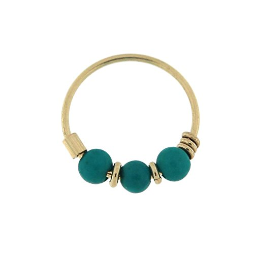9KT Solid Yellow Gold Triple Turquoise Beads 22 Gauge ( 0.6MM ) - 5/16 ( 8MM ) Length Hoop Nose Ring