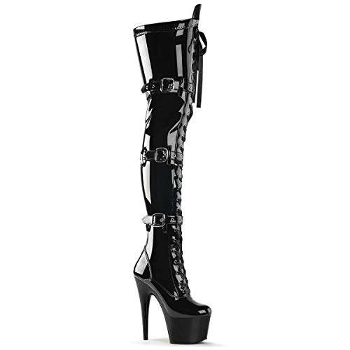 Pleaser Women's ADORE-3028 Over The Over The Knee Boot, Patent/Black, 9 M US ()