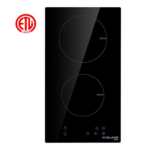 asland chef IH30BF Built-in Induction Cooker, Vitro Ceramic Surface Electric Cooktop, 12'' Electric Stove With 2 Burners, ETL Safety Certified, Kids Safety Lock & Easy To Clean ()