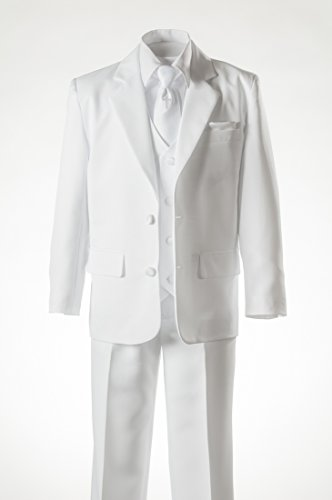 Boys White Suit Religious Cross Neck Tie, Covered Buttons & Pocket Square (6 ) by Tuxgear