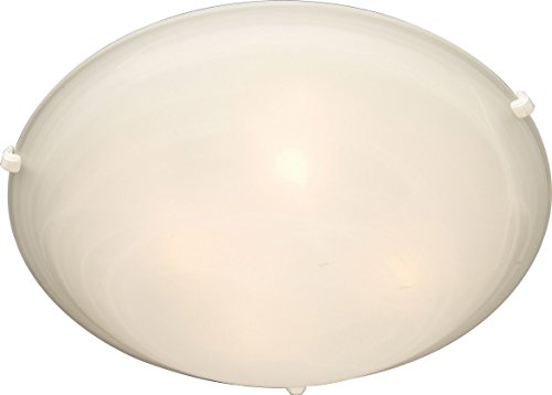 (Maxim 11060MRWT Malaga 4-Light Flush Mount, White Finish, Marble Glass, MB Incandescent Incandescent Bulb , 60W Max., Dry Safety Rating, 2700K Color Temp, Standard Dimmable, Metal Shade Material, 3360 Rated Lumens)