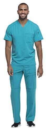 (Dickies Dynamix Men's Stretch V-Neck Top DK610 & Men's Zip Fly Elastic Waist Drawstring Cargo Pant DK110 Scrub Set (Teal Blue - Small/Small))