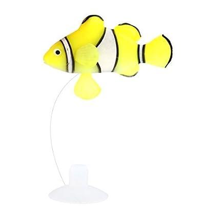 eDealMax Acuario de silicona Artificial flotante Adorno de peces Decoración Blanco Amarillo