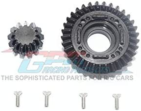 Traxxas Unlimited Desert Racer 4X4 (#85076-4) Upgrade Parts Harden Steel #45 Rear Differential Ring Gear & Pinion Gear - 2Pc Set Black