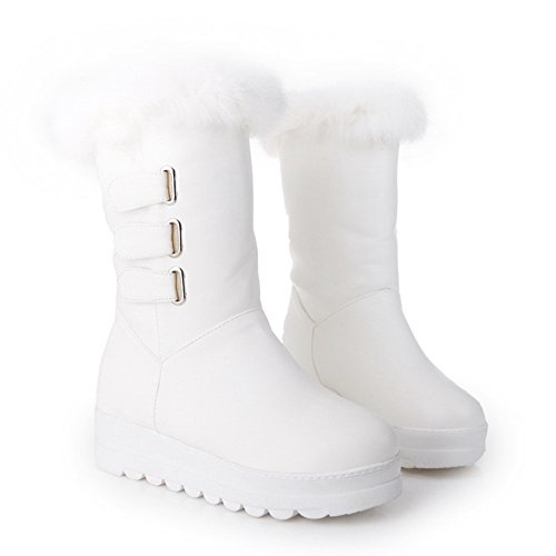 1TO9 Womens Buckle Platform Fur Collar Heighten Inside Imitated Leather Boots White bPFqBg