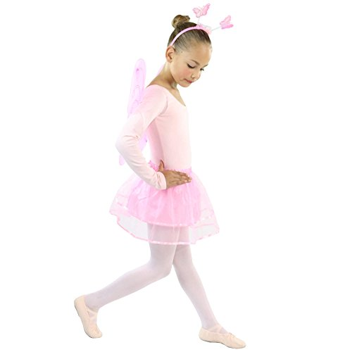 Danzcue Girls 4 Pieces Pink Butterfly Wing Fairy Princess Costume Set (Girls Pink Fairy Costume)