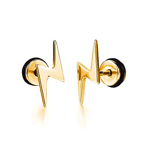 EACHLP Lightning Bolt Earrings,16G Gold Flat Back Post Earrings for Women or Men