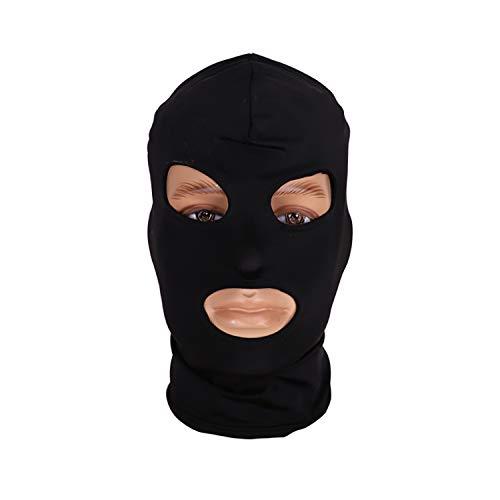 Fun Games Head Black Sex Mask Piece Sexy Head Mask Slave Open Mouth SM Bondage Sex Kinky Sex Toys for Woman Man Couples E