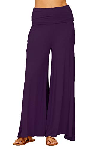 Annabelle Women's Foldover Waist Band Solid Knit Straight Wide Leg Full Length Pants Violet Small P9010