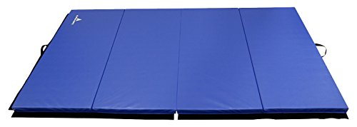 Alpha Mats Folding Gymnastics and Exercise Mat, PU Material & EPE Foam, Perfect for Aerobics, Yoga, Martial Arts, Royal Blue, 4'x10'x2