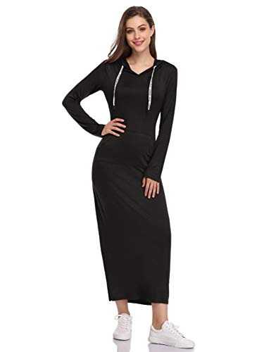 Willow Black Dress - GloryStar Women Long Sleeve Pullover Pocket