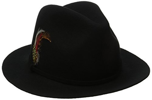 Scala Women's Felt Safari Hat with Feather Trim, Black, O...